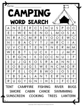 Camping Word Search - Camp Word Search