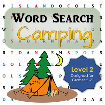 Camping Word Search Activity for First and Second Grade