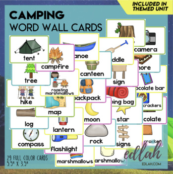 Camping Word Wall Cards (set of 29)