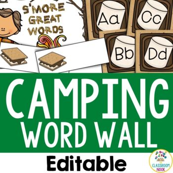 Camping Theme: Word Wall (Editable)