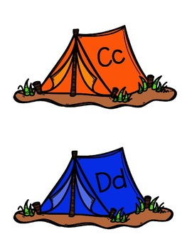 Camping Word Wall Letters on Tents