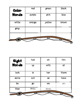 Camping Word Wall - Student's Personal Word Wall