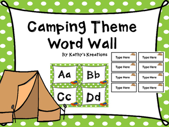 Camping Word Wall With Editable Word Page Included