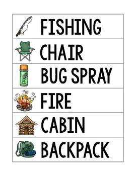 Camping Word Wall and Tracer Words - Preschool, Prek, Kindergarten, 1st Grade