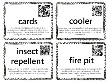 Camping Word Wall {with QR Codes}