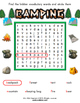 Camping Worksheet Set / Activity Packet with Flashcards