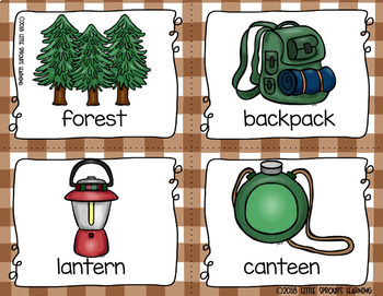 Camping  Write the Room -16 cards four versions, four recording sheets