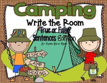 Camping Write the Room - True or False Sentences