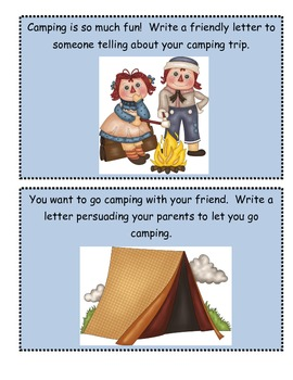 Camping Writing Prompts and Writing Paper