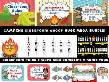 A Camping Theme and Fishing Classroom Decor HUGE MEGA BUNDLE! -Editable