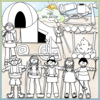 Camping and Hiking Clip Art - Camping Clip Art - CU Clip Art & B&W
