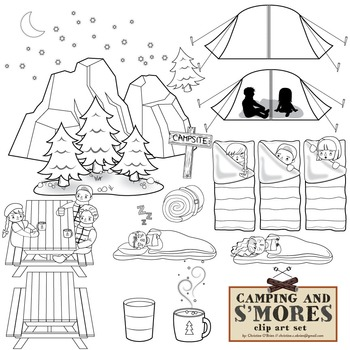 Camping and S'mores Clip Art Set