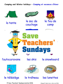 Camping and Winter Hols in French Worksheets, Games, Activities and Flash Cards