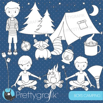 Camping boys stamps commercial use, vector graphics, images - DS522