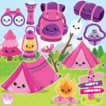 Camping clamping clipart commercial use, vector graphics,