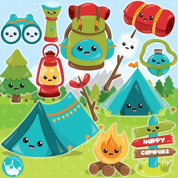 Camping clipart commercial use, vector graphics, digital  - CL989