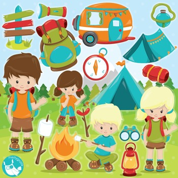 Camping clipart commercial use, vector graphics, digital  - CL993