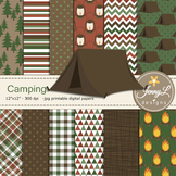 Camping digital paper and Tent clipart