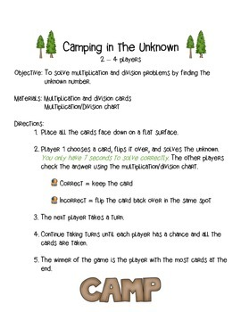Camping in the Unknown: A Multiplication & Division Game