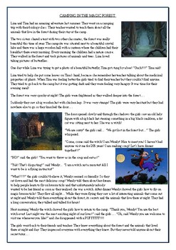 Camping in the magic forest - Reading Comprehension Worksheet - Halloween Story