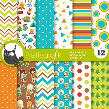 Camping papers, commercial use, scrapbook papers - PS811