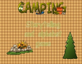 Camping storytelling and alphabet game