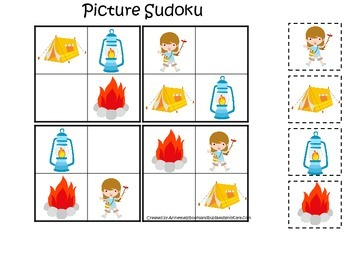 Camping themed Picture Sudoku educational learning activity for preschool.