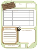 Camping theme assignment notebook page