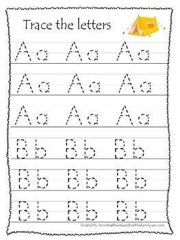 camping themed a z tracing preschool educational worksheets daycare alphabet. Black Bedroom Furniture Sets. Home Design Ideas