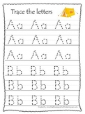 Camping themed A-Z tracing preschool educational worksheets.  Daycare alphabet.
