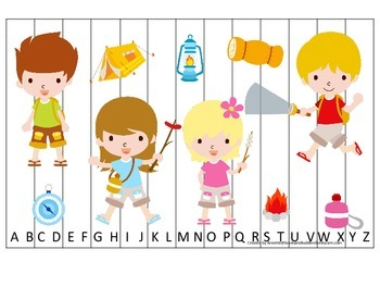 Camping themed Alphabet Sequence Puzzle preschool educational printable game.