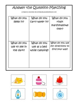 Camping themed Answer the Question preschool learning activity.  Daycare game.