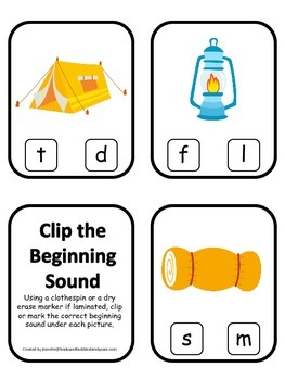 Camping themed Beginning Sound Clip it Cards.  Preschool and daycare.