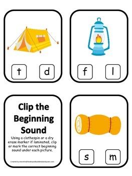 Camping themed Beginning Sound Clip it Cards.  Preschool a