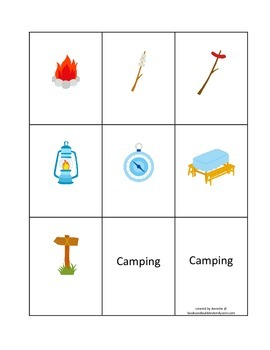 Camping themed Classic Memory Matching game for preschool and daycare.