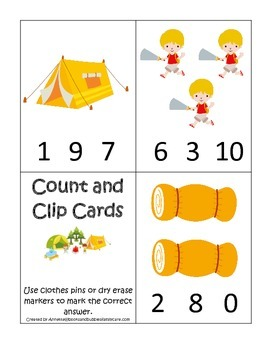 Camping themed Count and Clip Math Cards.  Preschool early math activity.
