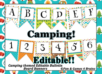Camping themed EDITABLE bulletin board banner
