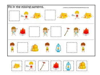 Camping themed Fill in the Missing Pattern preschool educational game.