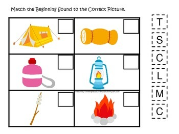 Camping themed Match the Beginning Sound preschool educational game. Curriculum.