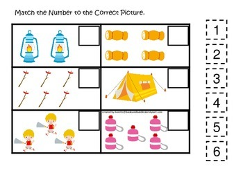 Camping themed Match the Number early math activity for preschool children.