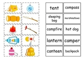 Camping themed Match the Word to the Picture preschool activity.  Early reading.