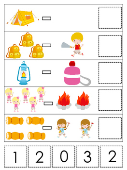 Camping themed Math Subtraction preschool learning game. Daycare math