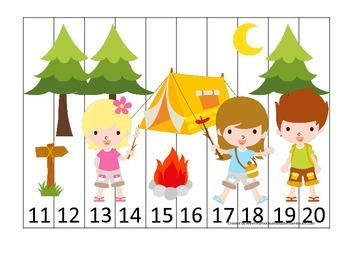 Camping themed Number Sequence Puzzle 11-20 math activity for preschool children