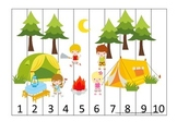 Camping themed Number Sequence Puzzle early math activity for preschool children