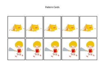 Camping themed Pattern Card.  Create your own pattern activity for your daycare.