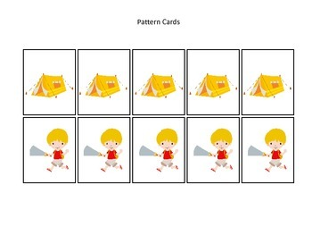 Camping themed Pattern Cards #2 preschool printable activity.  Daycare Curriculu