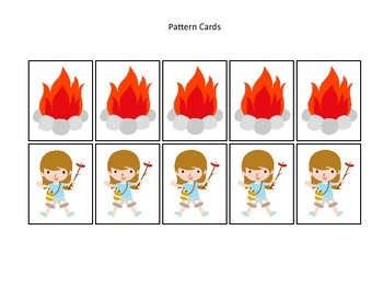 Camping themed Pattern Cards #3 preschool printable activity.  Daycare Curriculu