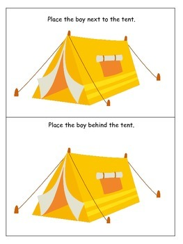 Camping themed Positional Cards preschool learning activity. Homeschool game.