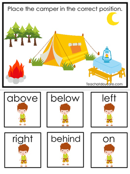 Camping themed Positional Game.  Printable Preschool Curriculum Game
