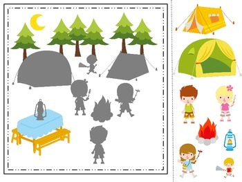 Camping themed Shadow Matching preschool daycare learning activity.